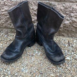 Frye black leather mototcycle boot size 7 1/2